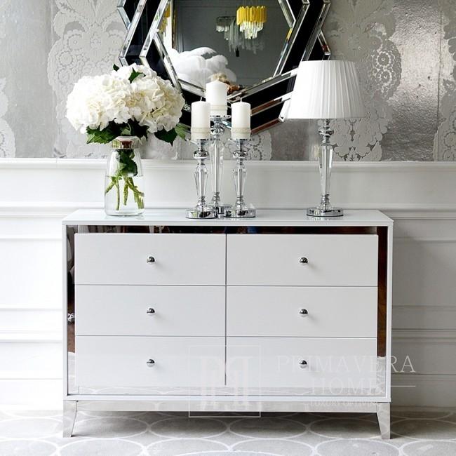 Glamour lackierte Holzkommode auf Lorenzo M Silber Stahlbeinen