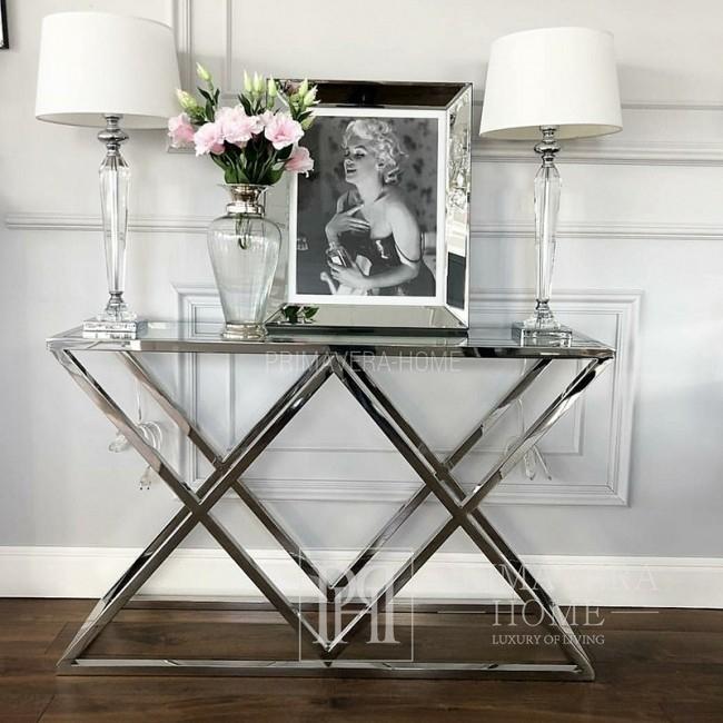 Glamour-Konsole stilvoll in Silber Edelstahl und Glass DONNA
