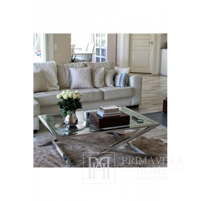 Bench Coffee table stainless steel silver NEW YORK