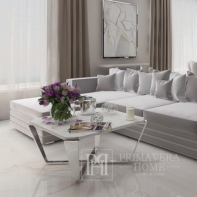 Stolik kawowy do salonu nowoczesny z białym konglomeratem srebrny RALPH