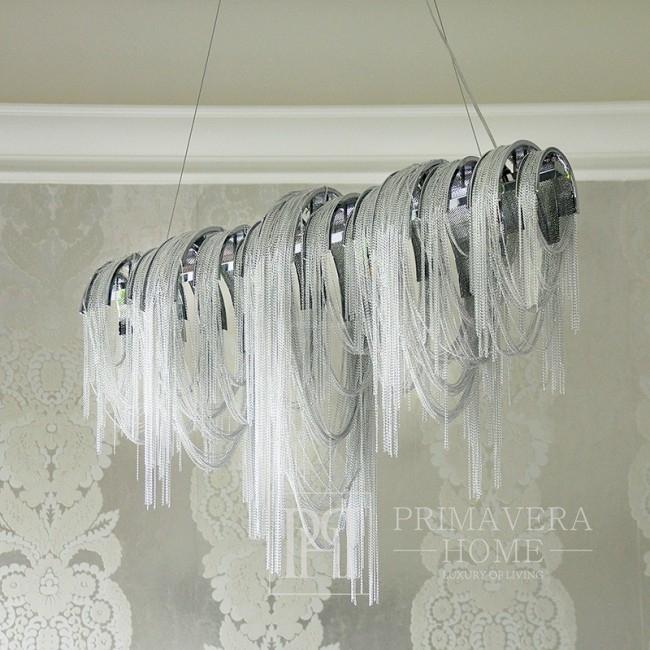 Żyrandol srebrny lampa wisząca glamour z łańcuchami ekskluzywny MADONNA L