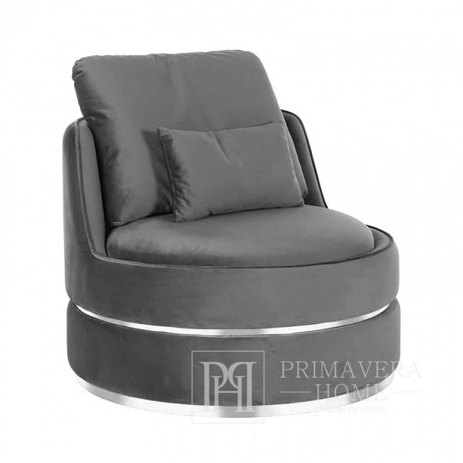 Stylish ROUND stone swivel armchair velvet gray silver