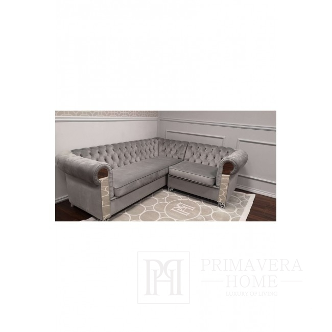 Sofa narożna prawo stronna w stylu nowoczesnym szara AVIATOR 235x200 cm