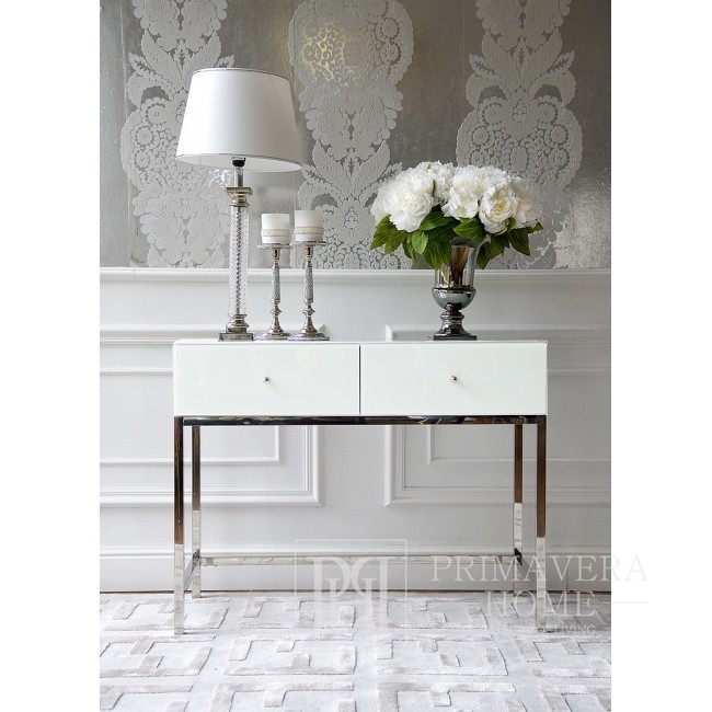 Glamour console, New York dressing table, high gloss super white FRANCO SILVER
