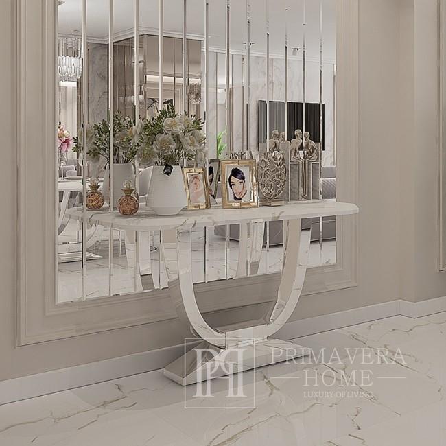 1.Moderne Glamour Konsole mit weißer Marmorplatte Silber ART DECO SILBER