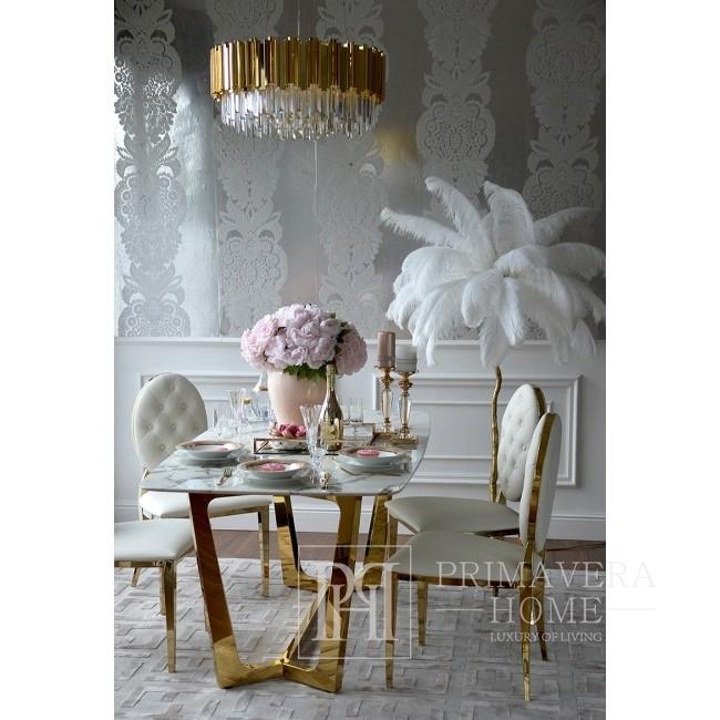 Krzesło glamour do jadalni stal nierdzewna, białe pikowane złote MEDALION