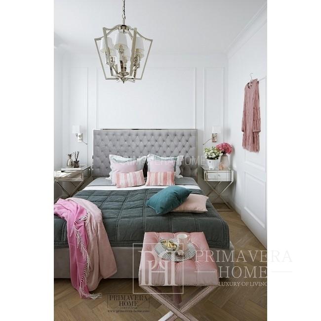 Glamour-Polsterbett gesteppt modern New York Style grau SPECTRE SILBER