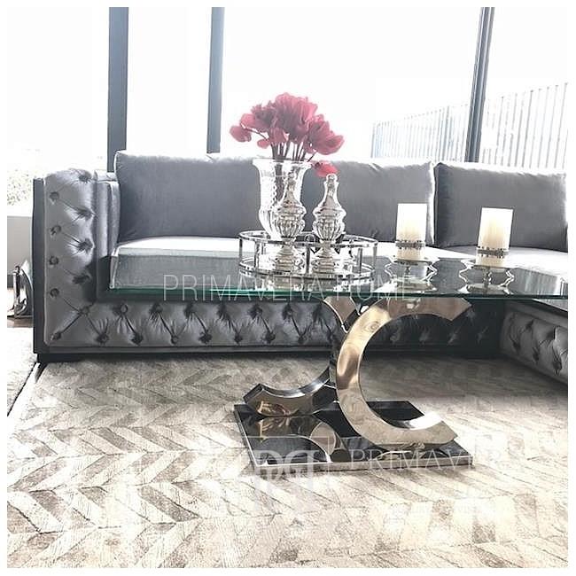 Luksusowy narożnik w stylu glamour z funkcja spania model QUEEN