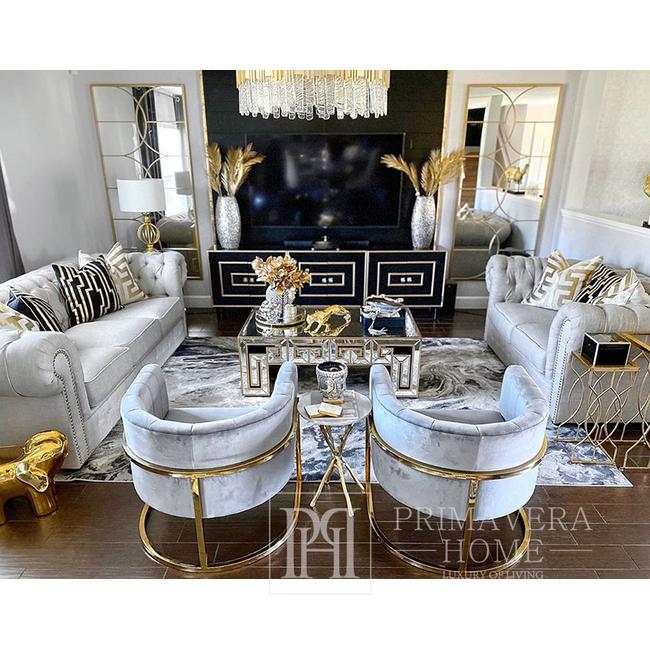 Stilvoller Sessel Bent Goldenen Glamour für das Wohnzimmer und Esszimmer grau