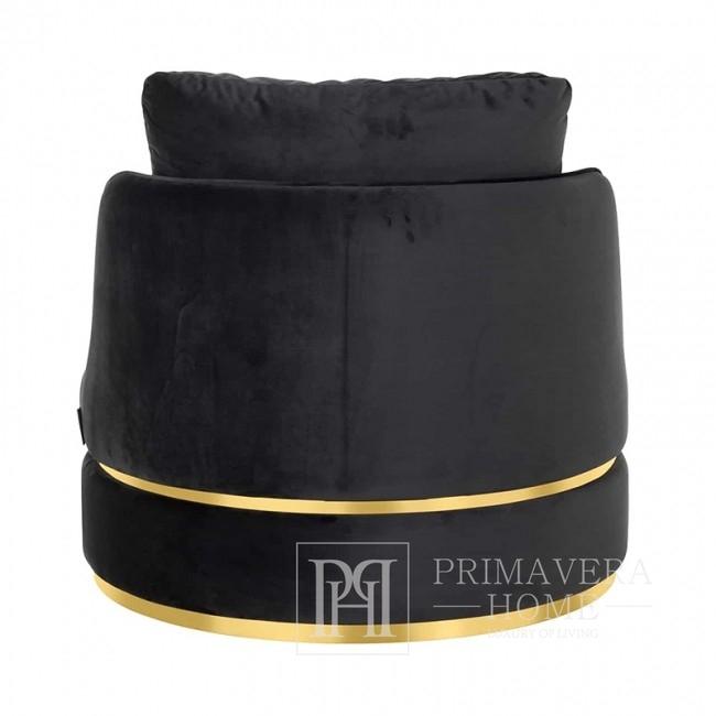 Fotel obrotowy w stylu glamour nowoczesny stone aksamit czarny złoty ROUND