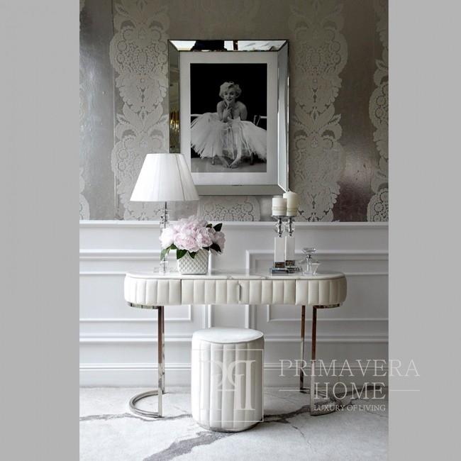 Konsola glamour srebrna modern classic biała do przedpokoju marmurowy blat, salonu BELLA SILVER
