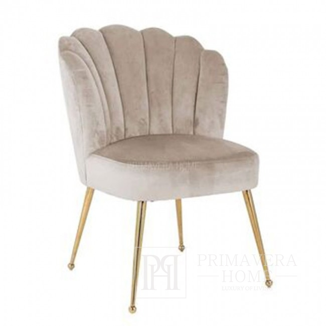 Krzesło glamour do salonu toaletki, nowoczesne stylowe beżowe Shell