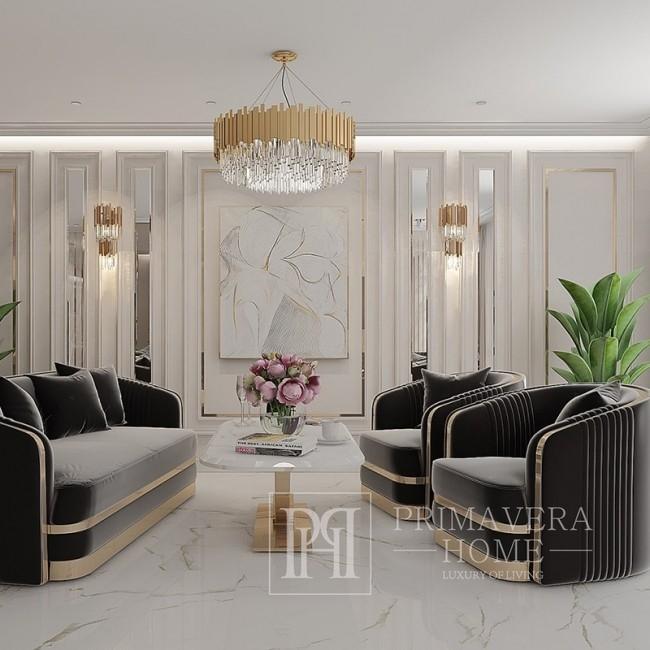 Nowoczesny fotel glamour do salonu, jadalni czarny złoty MADONNA OUTLET