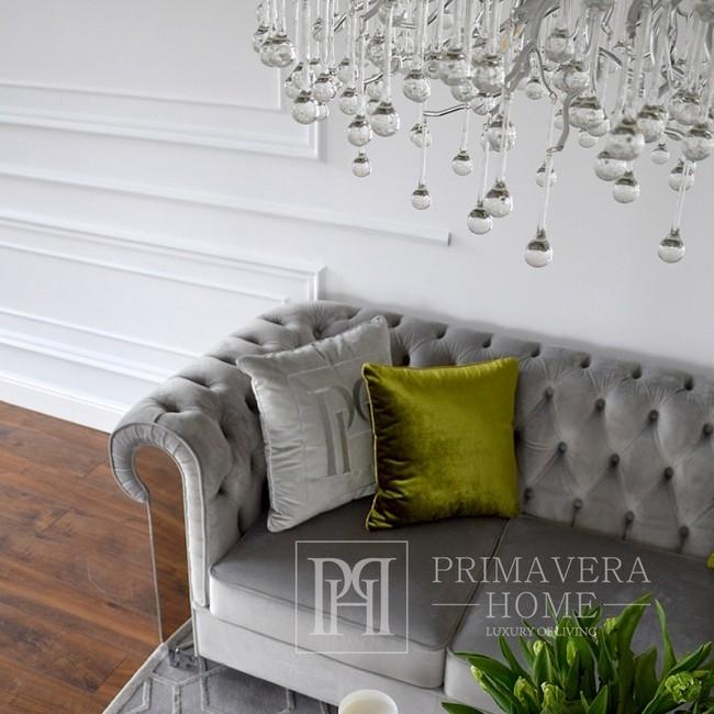 New York Glamour Sofa Modern gray AVIATOR silver