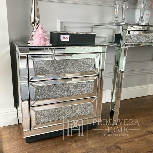 Mirror bedside table PAOLA S on metal legs in glamor style, New York style with broken glass 65x60x40
