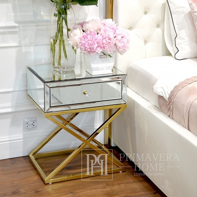 Szafka nocna lustrzana glamour 60 cm CHICAGO GOLD MINI złota