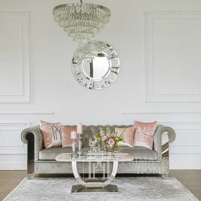 Lustrzana taca glamour elegancki dodatek na stół ławe srebrna