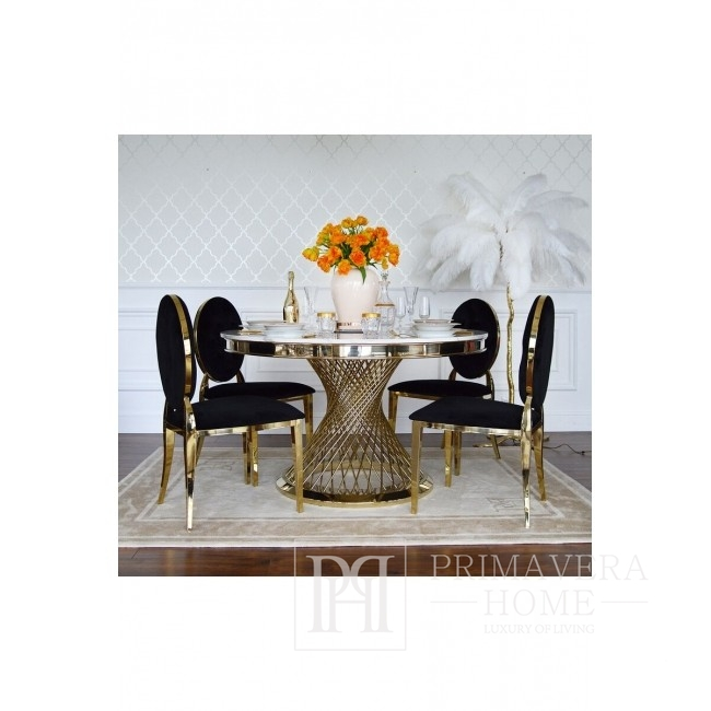 Round gold glamor table with ANTONIO GOLD marble top