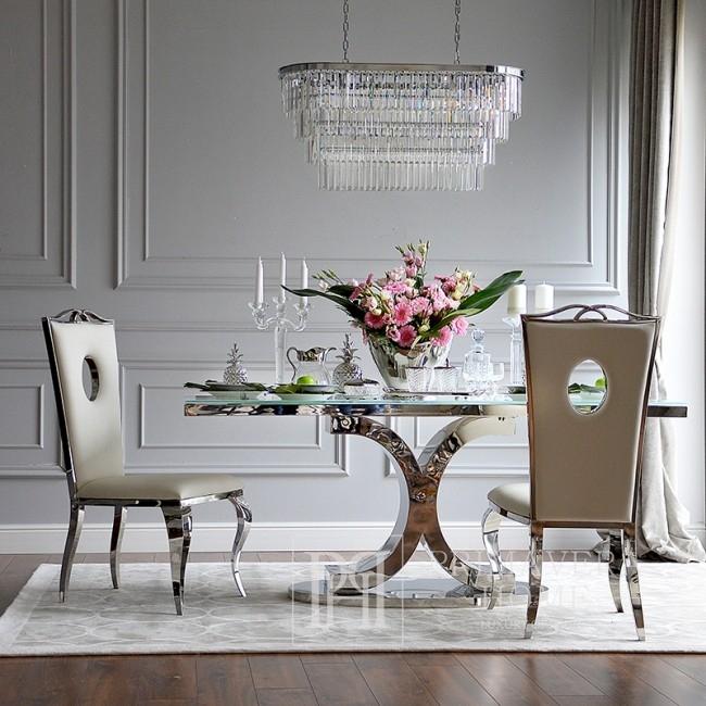 Stół glamour do jadalni, nowoczesny stalowy z lustrzanym blatem  RITZ