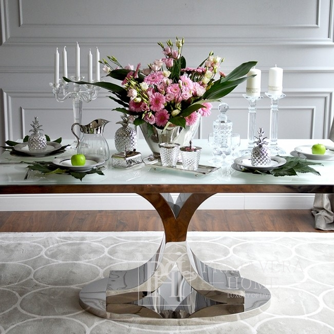 Glamour dining table, stainless steel, white RITZ top