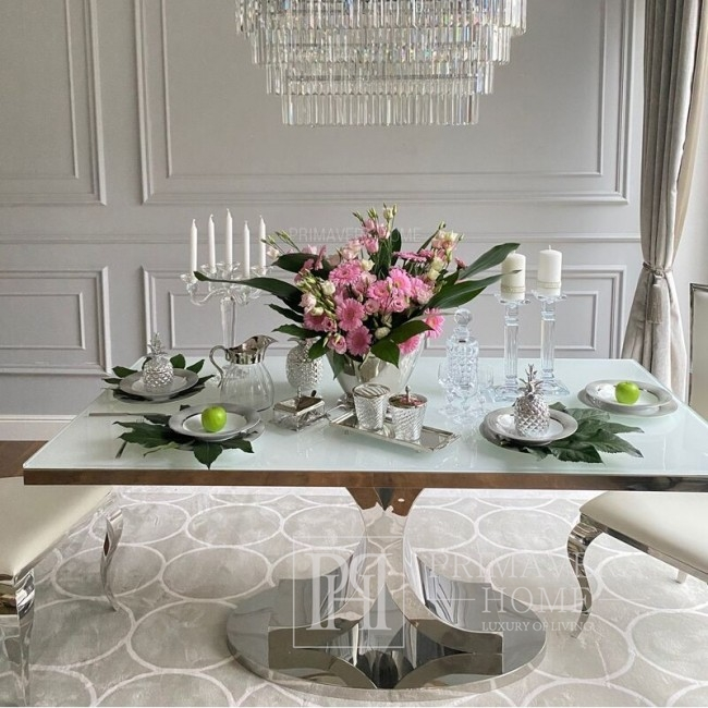 Esszimmer-Glamour-Tisch, Edelstahl, weiße RITZ-Platte  OUTLET