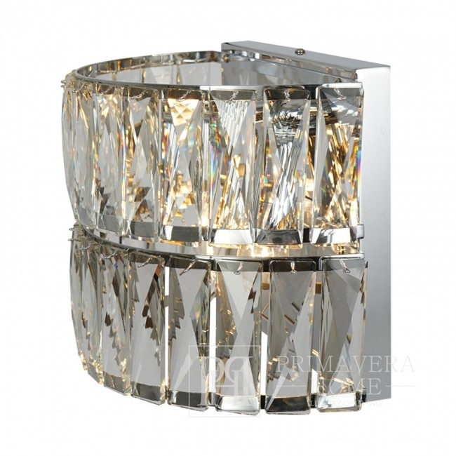 Crystal glamor wall lamp, New York style, silver MONACO