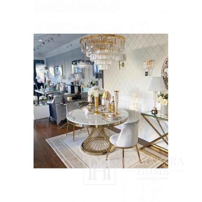 Glamour Esszimmerstuhl gepolstert Stahl Gold grau ENZO 48x48x84