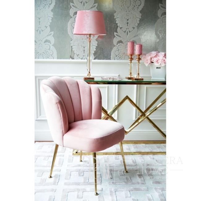 Krzesło nowoczesne, różowe glamour do toaletki, konsolki lub jadalni Shell