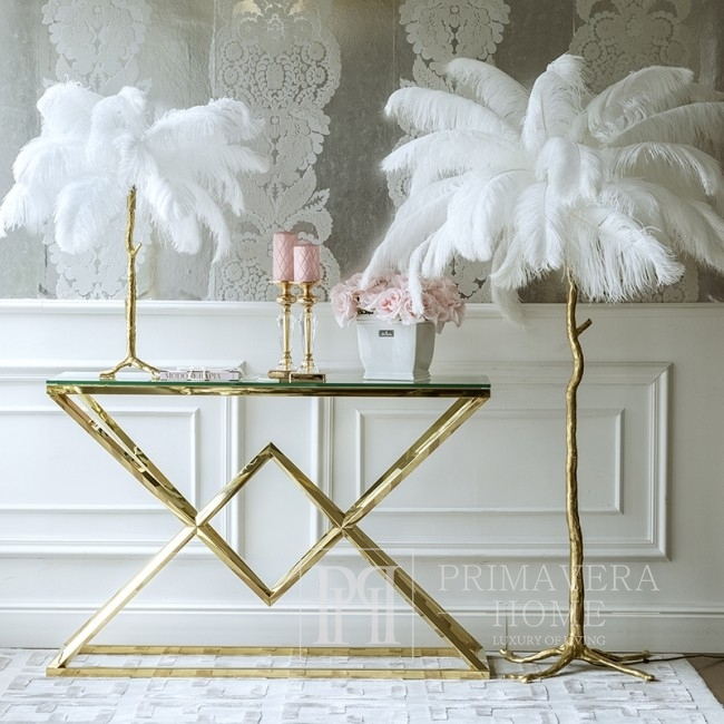 Floor lamp made of natural ostrich feathers Paris