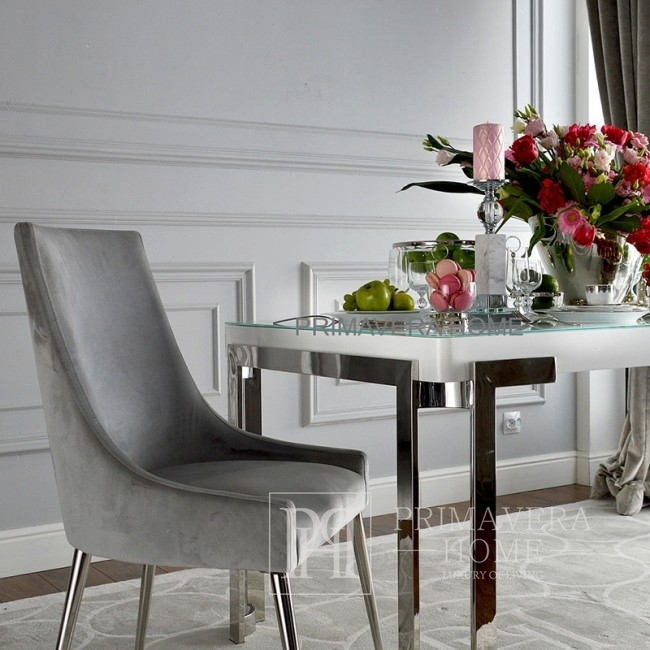 Glamour dining table, stainless steel, white or black top BOND GOLD