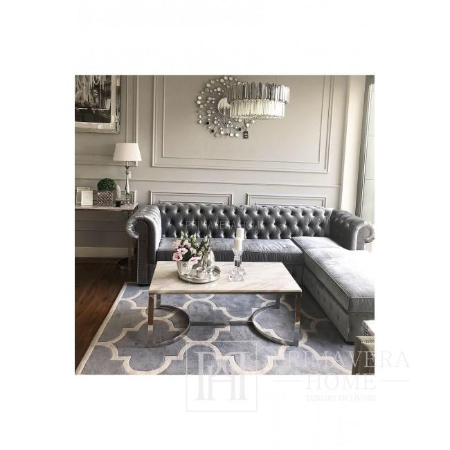 Chesterfield-Ecksofa mit ausklappbarer Schlaffunktion, gepolstert im Glamour-Stil