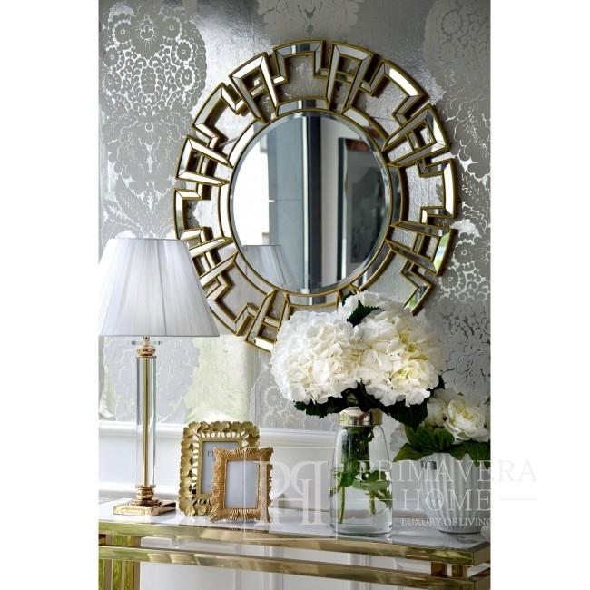 Glamour-Konsole OSKAR GOLD  Stahl, Gold, weiße Platte, Marmor OUTLET