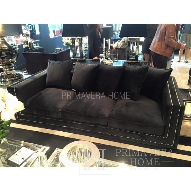 Sofa glamour rozkładana kanapa z poduszkami szara, czarna wygodna, NERO