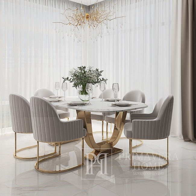 Glamour dining room table gold steel white VOGUE top