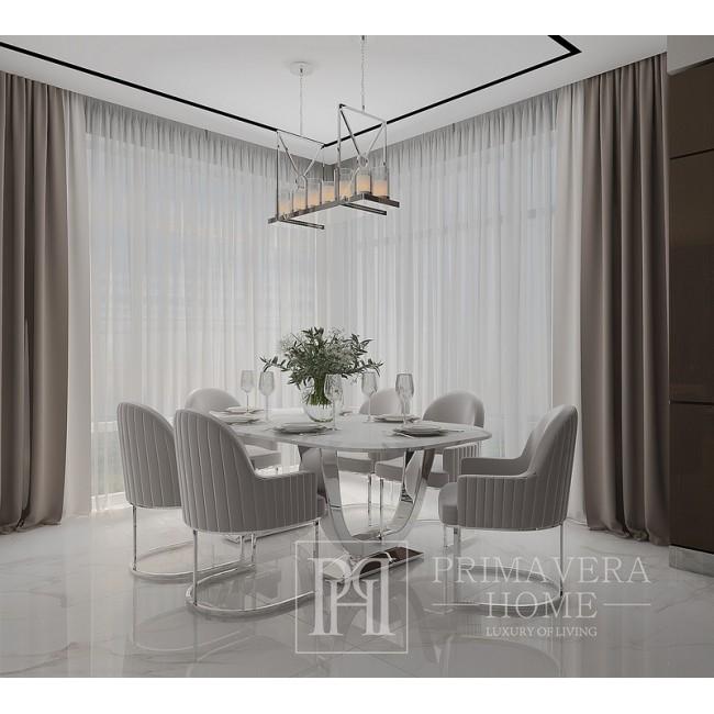 Esszimmertisch Glamour Silber Stahl weiß Platte VOGUE