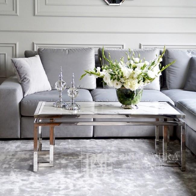 Couchtisch im New Yorker Stil und Glamour-Edelstahl-Marmor OSKAR SILBER