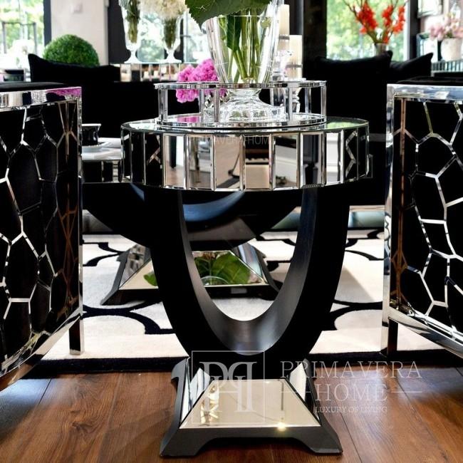 Stolik lustrzany nowojorski glamour do sypialni salonu srebrny czarny  MICHELLE S