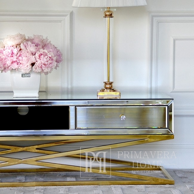New York CHICAGO RTV gold-plated glamour cabinet on metal legs