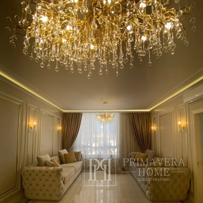 Kronleuchter, Glamour-Deckenleuchte, moderne Hängelampe RAIN L GOLD