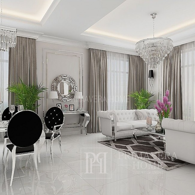 Żyrandol srebrny lampa wisząca kryształowa glamour nowoczesny stalowy GLAMOUR 100 cm