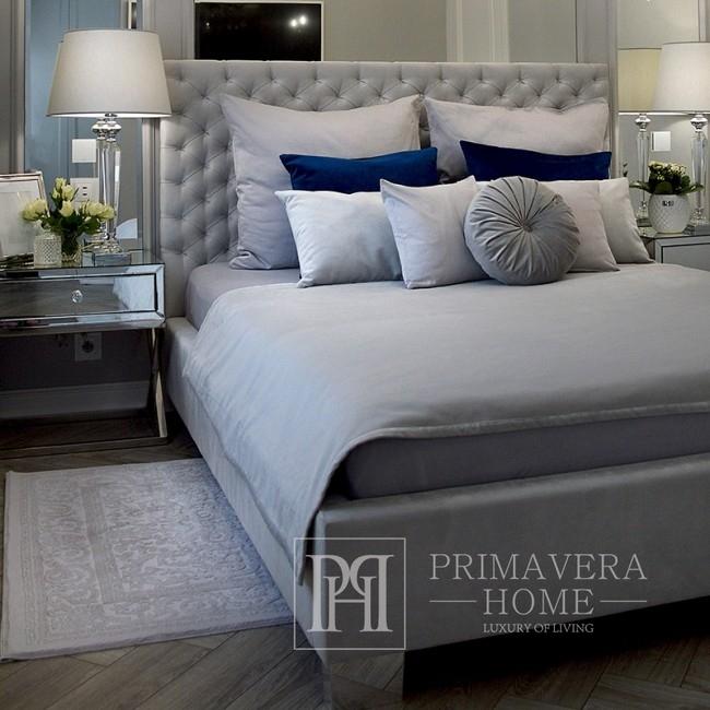 Classic Łóżko tapicerowane pikowane chesterfield szare, białe