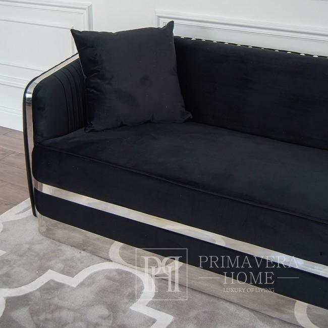 Stylowa sofa glamour tapiceorwana , nowojorska nowoczesna srebrna czarna MADONNA