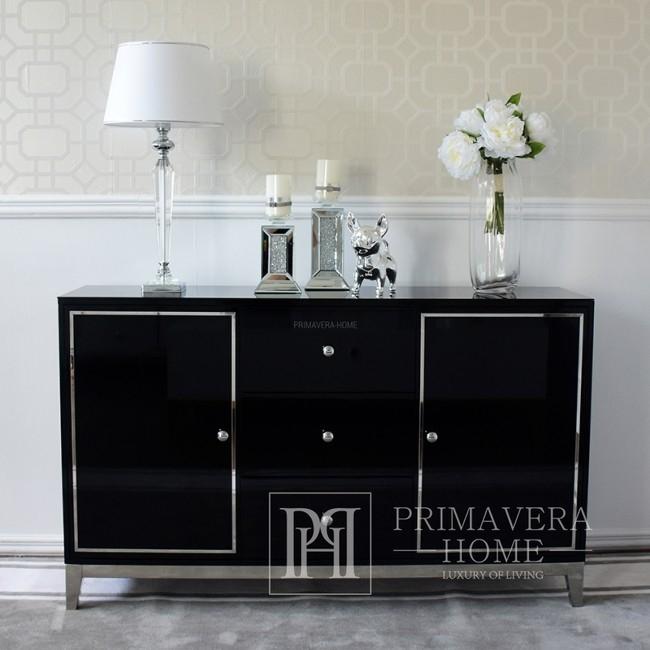 Komoda glamour lakierowana drewniana na stalowych nogach czarna nowoczesna Lorenzo L Silver