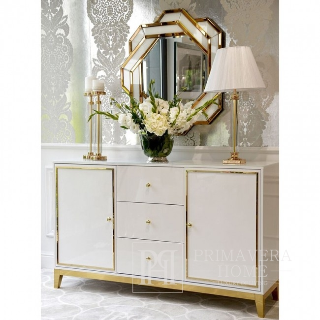 Komoda lakierowana LORENZO glamour drewniana biała złota