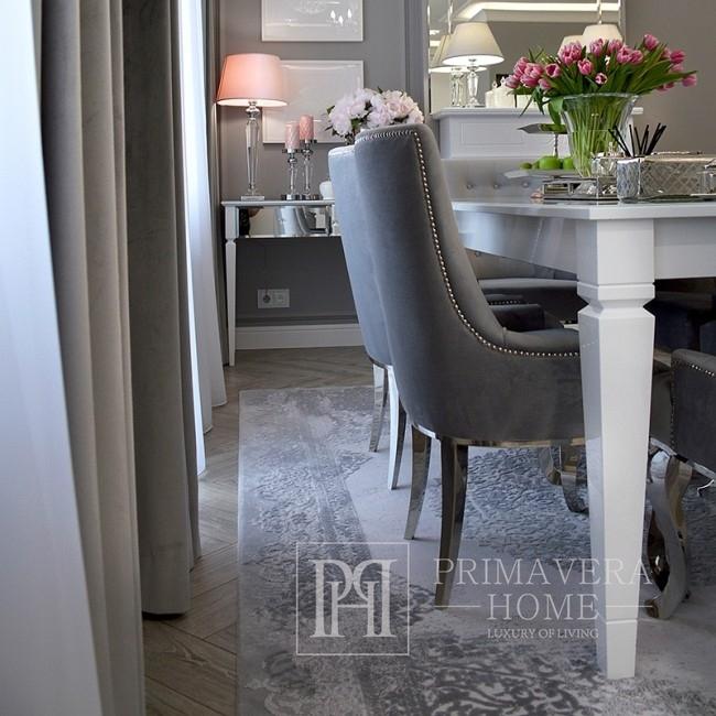 Polsterstuhl gepolstert auf flexiblen Stahlbeinen zum Salon TIFFANY Silber