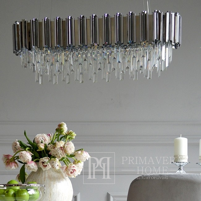 New York glamour crystal chandelier EMPIRE SILVER L