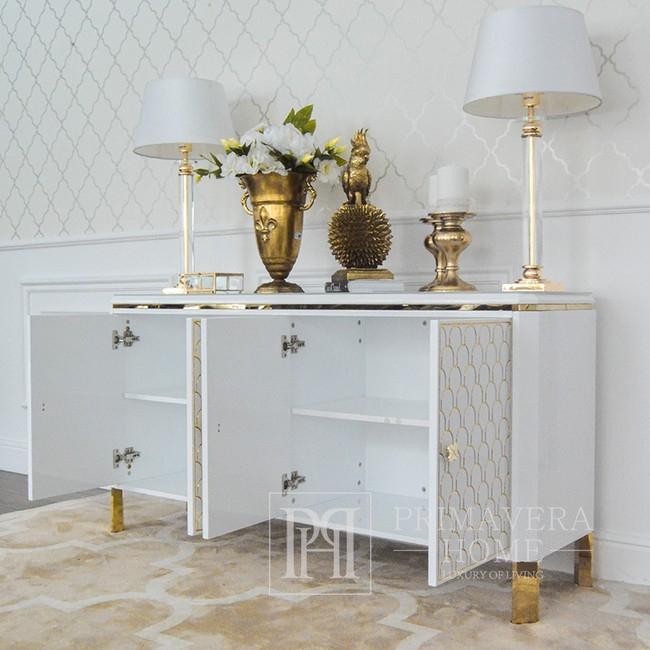 Komoda Luksusowa GATSBY nowowczesna ombré glamour do salonu z wysokim połyskiem biała złota