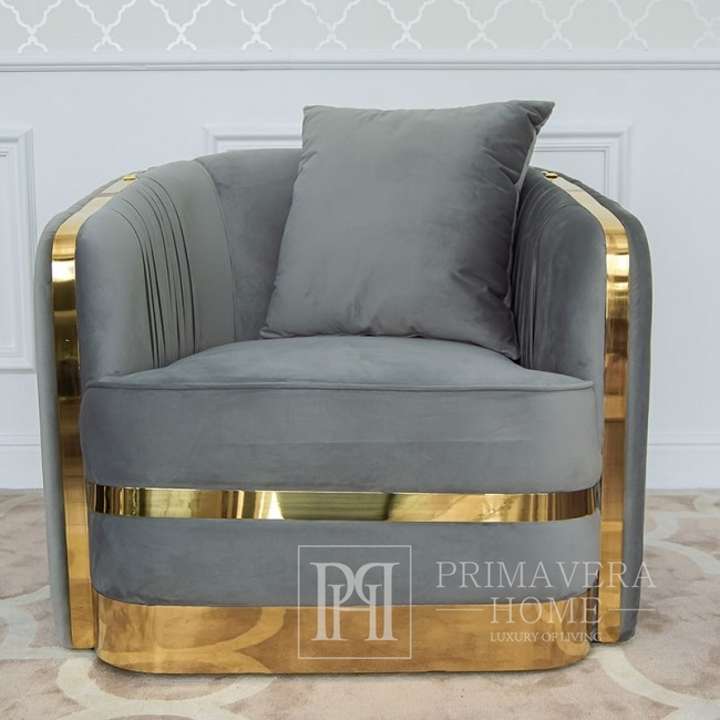 MADONNA modern golden grey glamour armchair for living room, dining room