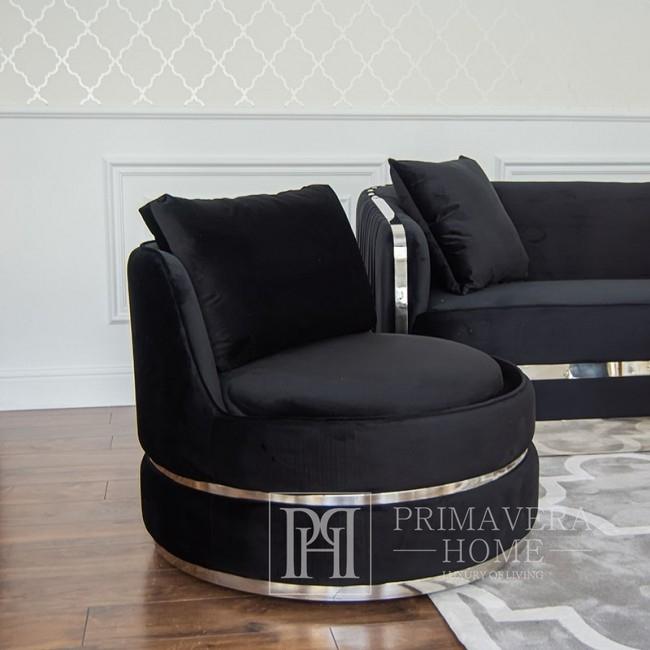 Stylowy obrotowy fotel stone aksamit nowoczesny czarny srebrny ROUND