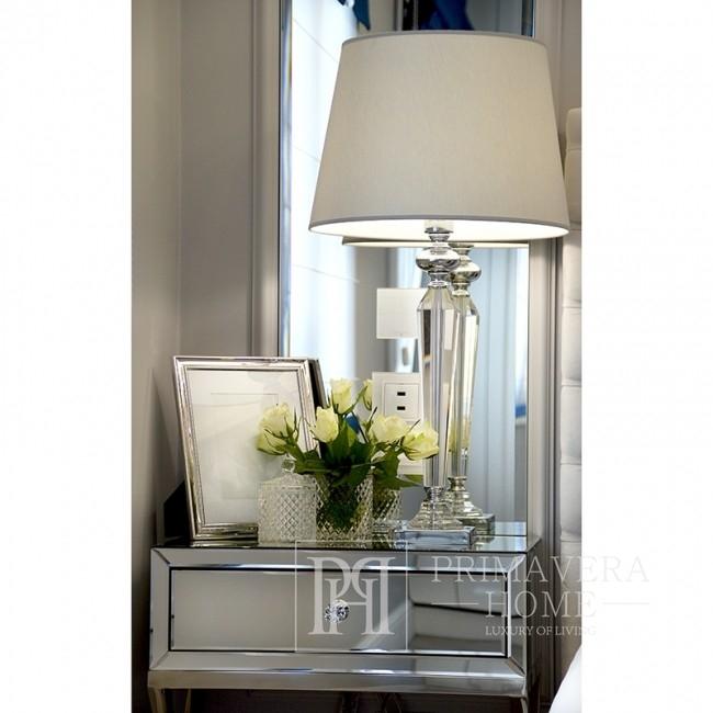Nachttisch Spiegelkonsole Glas Stahl Silber weiß CHICAGO MINI